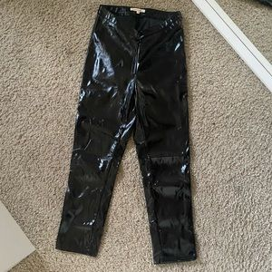pleather black tight pants (cropped)